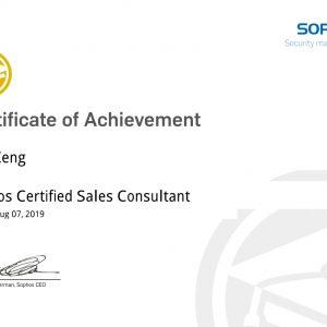 Sophos Certified Sales Consultant-Eric Zeng