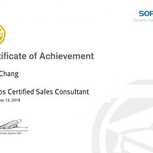 Sophos Certified Sales Consultant-Paul Chang