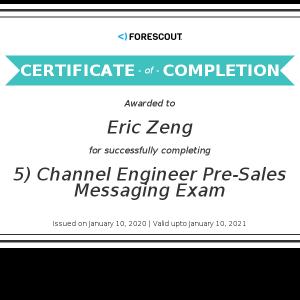 Eric Zeng_5) Channel Engineer Pre-Sales Messaging Exam_Certificate