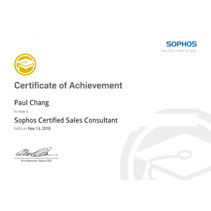 Sophos-Certified-Sales-Consultant-Paul-Chang