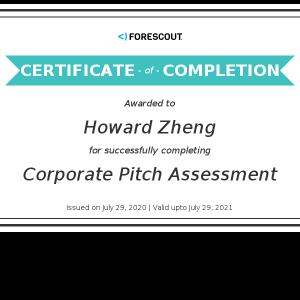 Howard Zheng_Corporate Pitch Assessment_Certificate