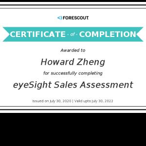 Howard Zheng_eyeSight Sales Assessment_Certificate