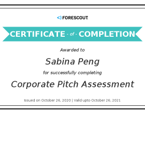 Forescout-Sabina Peng_Corporate Pitch Assessment_Certificate