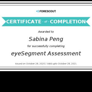 Forescout-Sabina Peng_eyeSegment Assessment_Certificate