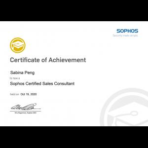 Sophos Certified Sales Consultant-Sabina Peng